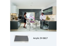 New model high gloss acrylic modular kitchen cabinet ZH8617 (silver grey)