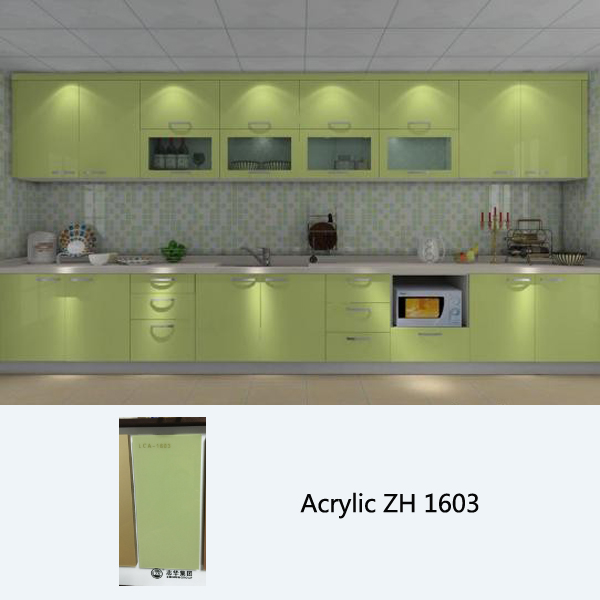 high gloss acrylic mitre end green kitchen cabinet ZH1603