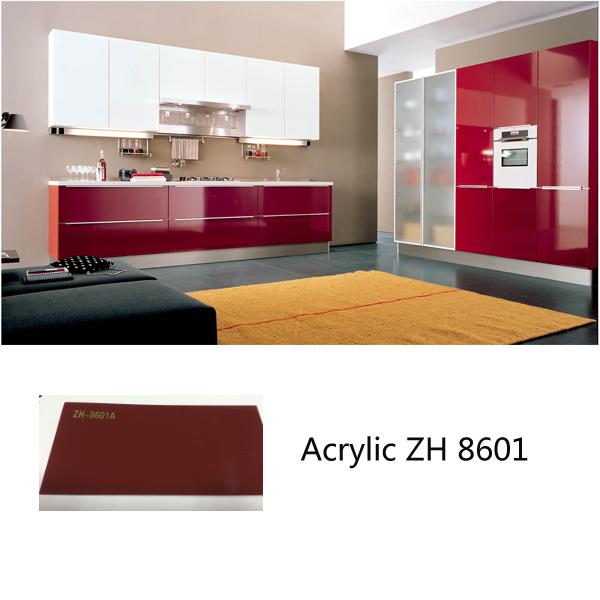 Customized Modern high gloss kitchen cabinets ZH8601 wine red