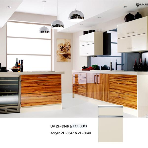 semi gloss petg LCT kitchen cabinet warm white