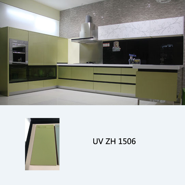 High gloss UV coated vivid gree wooden kitchen cabinet ZH1506