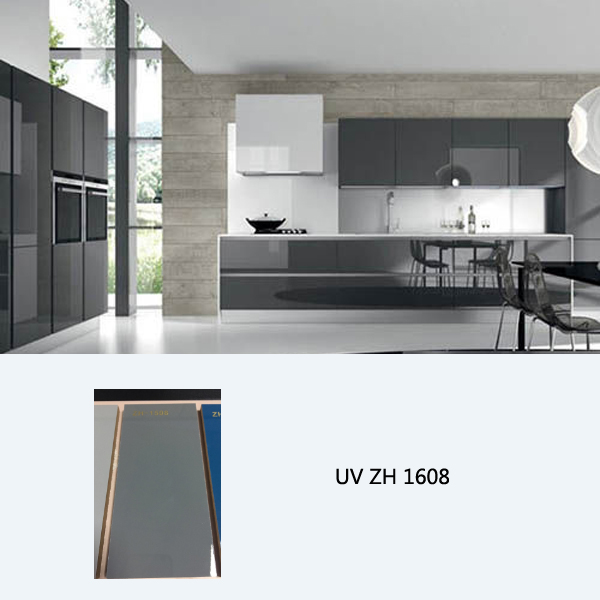 High gloss UV coated kitchen cabinet ZH1508 cadetblue