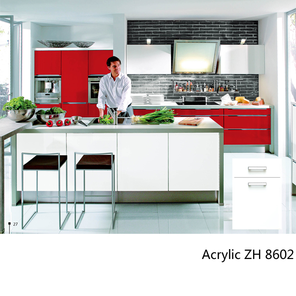 Modern simple design high gloss acrylic wooden kitchen cabinet ZH8602
