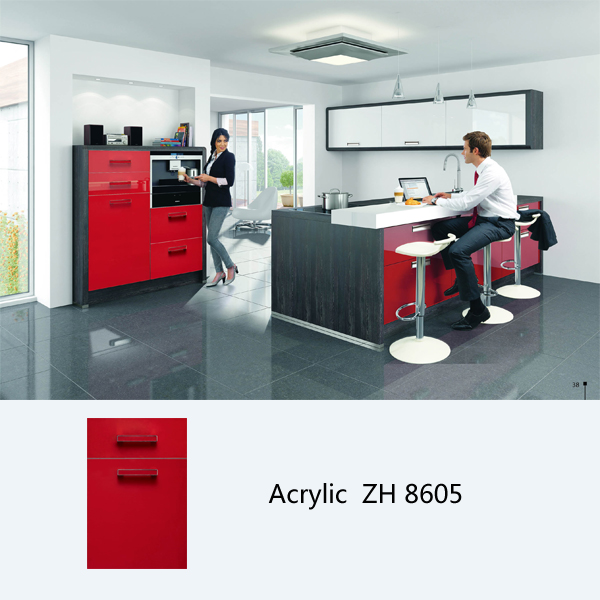 high gloss red acrylic kitchen cabinet ZH8605