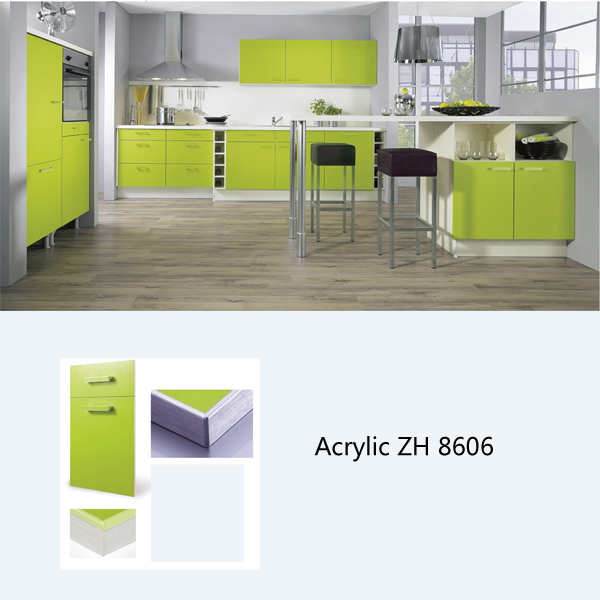 High gloss red acrylic kitchen cabinet ZH8606