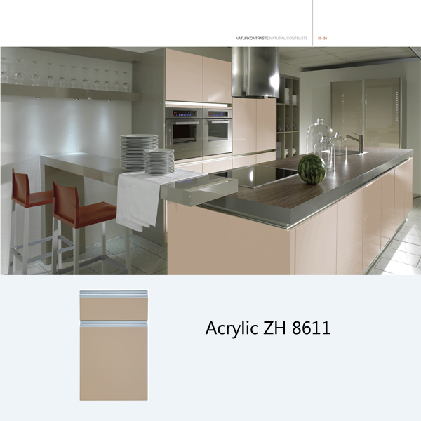 New model high gloss acrylic modular kitchen cabinet ZH8611 (khaki)