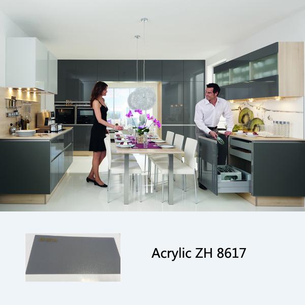 Modern Kitchen Designs Cabinet Acrylic Laminate Kitchen Cabinet (ZH8617  Silver Grey). Mitre End High Hardness High Gloss ...