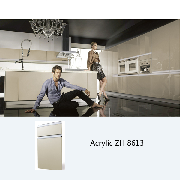 Modern high gloss acrylic laminate wooden kitchen cabinet simple designs ZH8613 grey