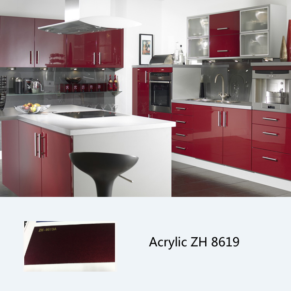 High glossy cabinet furniture foshan factory acrylic kitchen cabinet ZH8619
