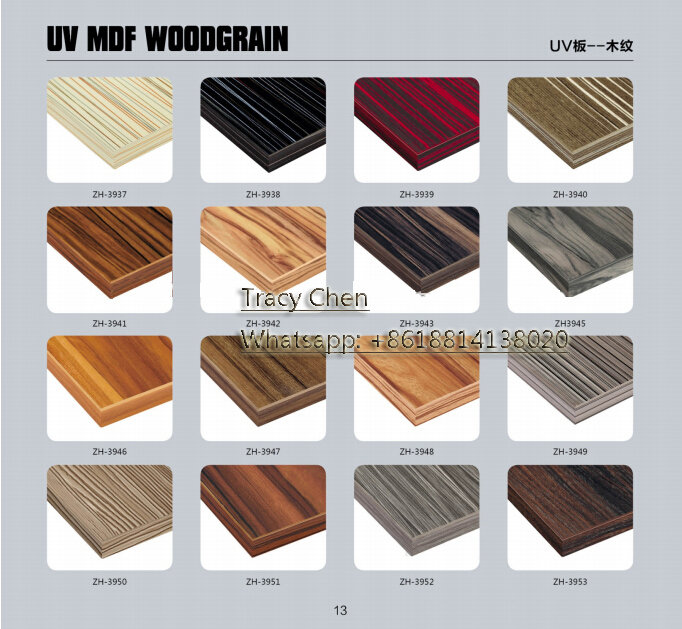 high gloss UV wood grain kitchen cabinet door mdf panel