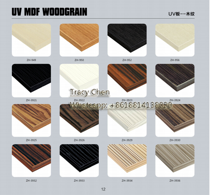 high gloss wood grain UV kitchen cabinet mdf door panel