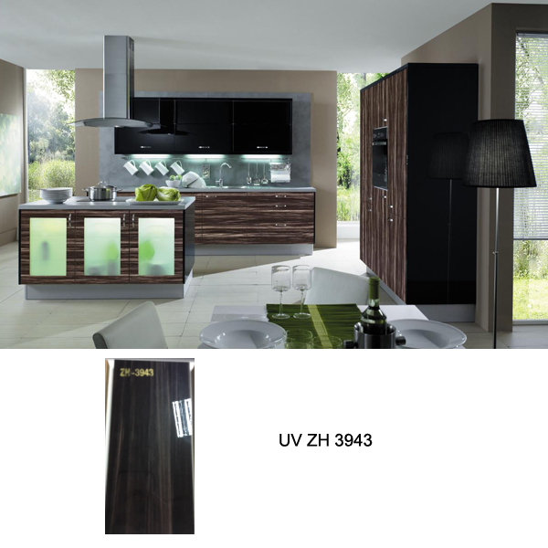 Siri Lanka high gloss UV wood grain kitchen cabinet